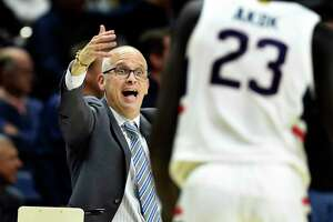 UConn coach Dan Hurley reacts during the second half the Huskies' 89-67 victory over Sacred Heart on Friday in Storrs.