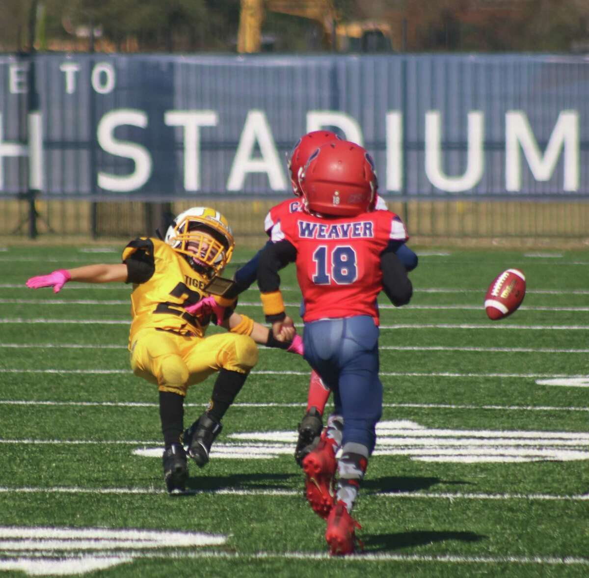 Deer Park Sophomore Tigers wide receiver Mason Holman is unable to haul in this deep pass during first-half action Saturday afternoon at Stallworth Stadium. One of the Texans defenders is Micah Weaver (18).