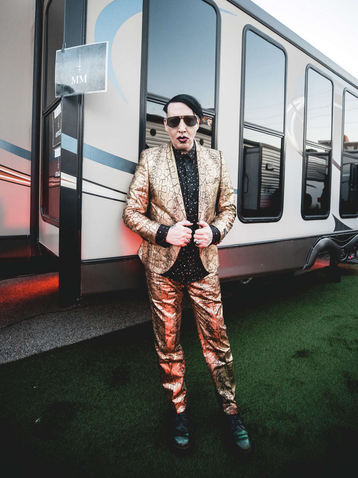 Marilyn Manson backstage at the Astroworld Festival.