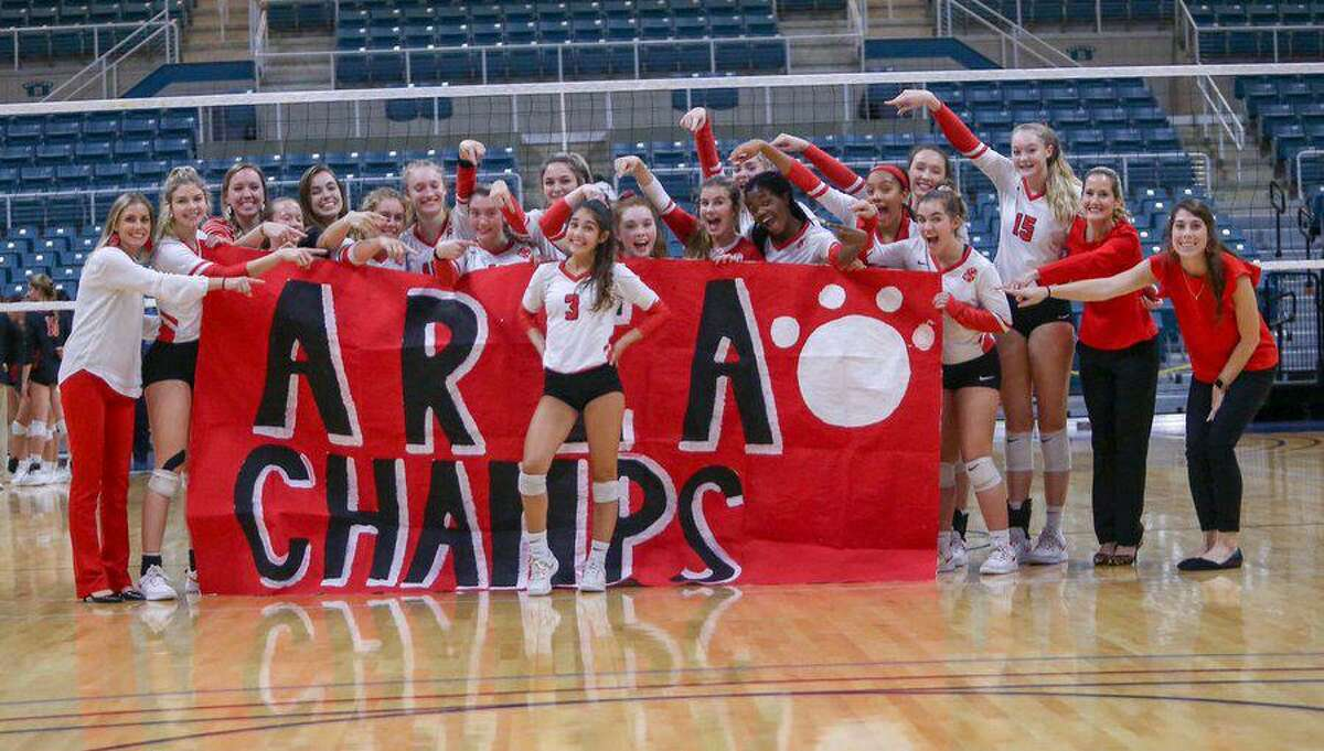 The Katy volleyball team defeated Bellaire in four sets to win the area championship Nov. 7 at the Merrell Center.