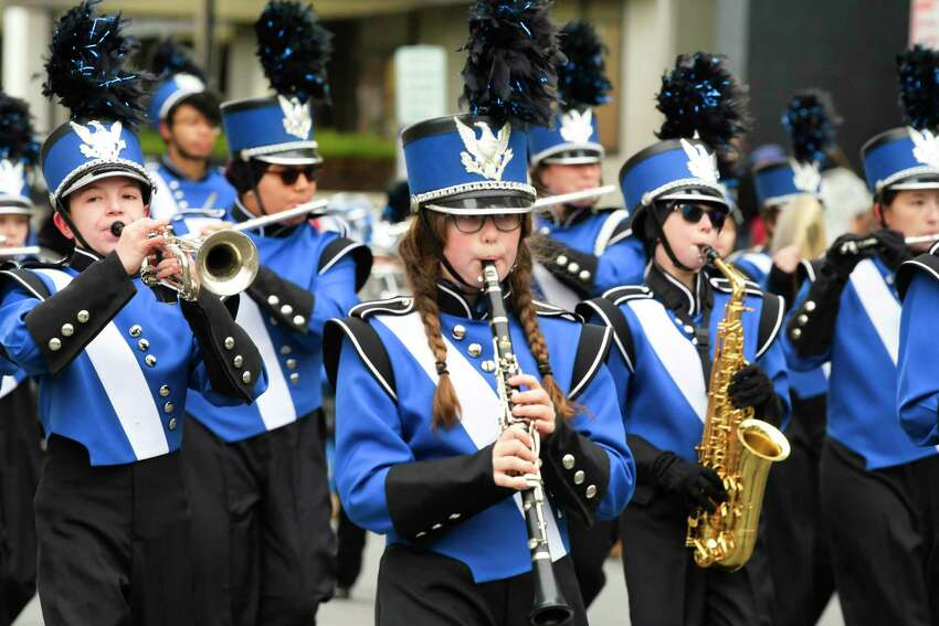 Members of the Albany Marching Falcons perform as they march in the Albany Veterans Day Parade on Monday, Nov. 11, 2019, in Albany, N.Y. (Paul Buckowski/Times Union)