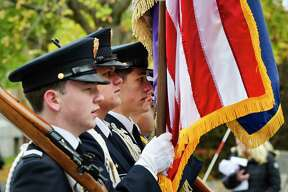 Christian Brothers Academy students march down Washington Ave. during the Albany Veterans Day Parade on Monday, Nov. 11, 2019, in Albany, N.Y. (Paul Buckowski/Times Union)
