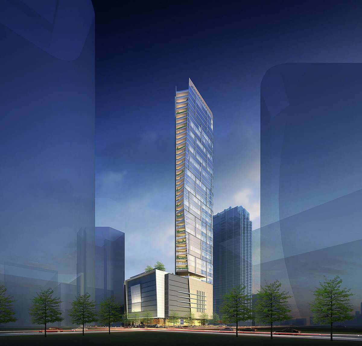 This artist's rendering shows the exterior of The Preston, a 46-story residential tower under construction in the 700 block of Prairie Street in downtown Houston on the site of what was once an employee parking garage of the Houston Chronicle.