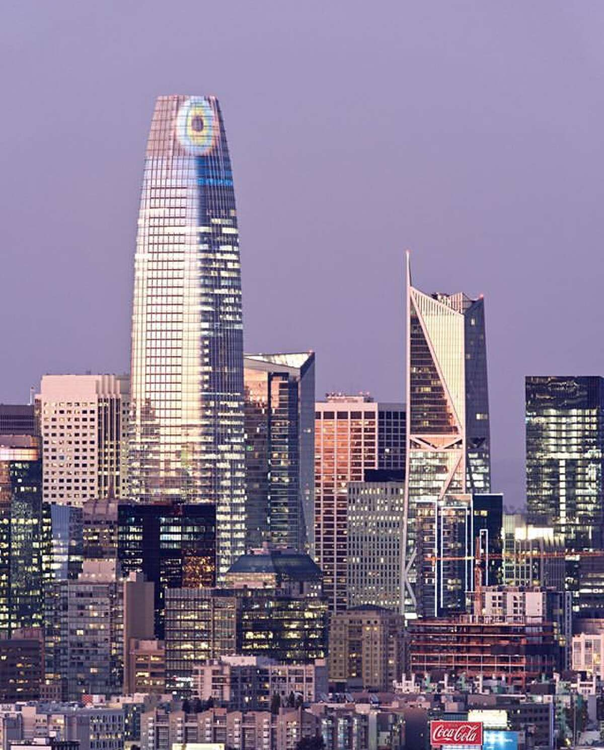 The top of Salesforce Tower was turned into the Eye of Sauron on Halloween. Photo by @mattqnielsen