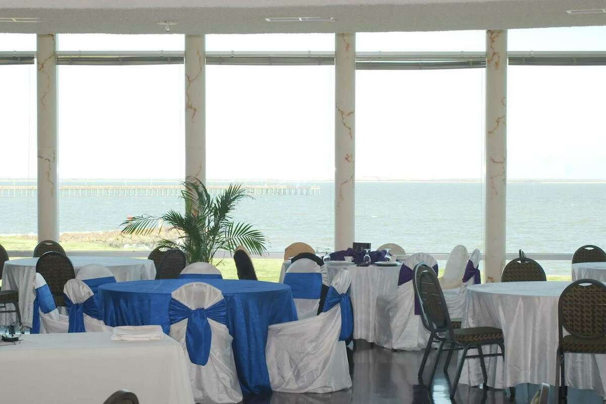 Galveston Bay is visible outside the main ballroom of the Sylvan Beach Pavilion Thursday, Feb. 13.