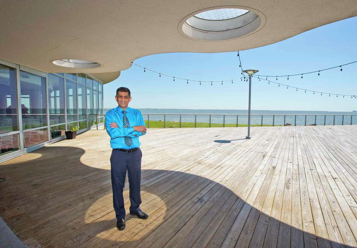 Raj Shafaii poses outside the deck area at the Sylvan Beach Pavilion on Tuesday , April 5, 2016 in La Porte, TX. ( Photo by Thomas B. Shea / For the Chronicle)