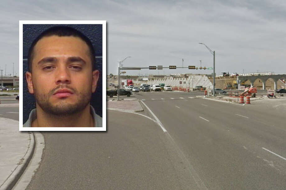 A shootout between two cars driving on Loop 20 ended with a crash, a man shot in the abdomen and another arrested on aggravated assault charges around midnight Saturday. Photo: Courtesy