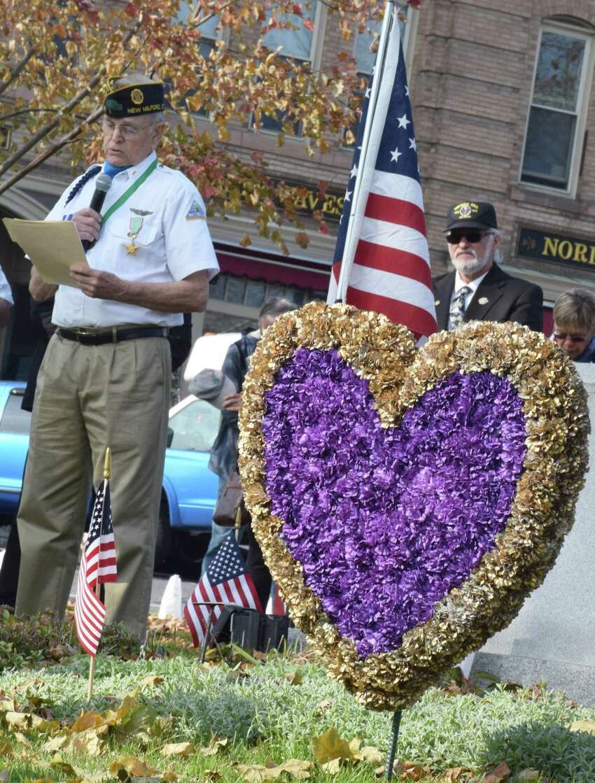 Spectrum/The annual Veterans Day ceremony was held on the south end of the Village Green in New Milford Nov. 11, 2019. Veteran Dan Sullivan shares a few words toward the close of the ceremony.