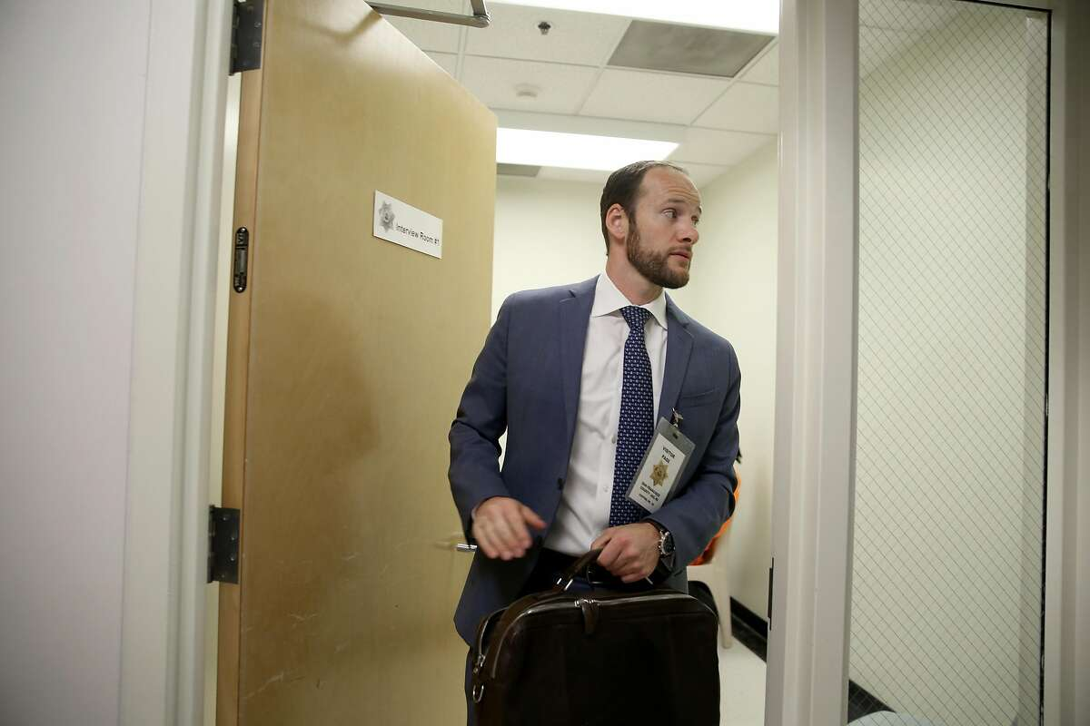 Deputy public defender Chesa Boudin leaves after interviewing inmates in room #2 at county jail #2 as part of the public defender pretrial release unit on Monday, May 14, 2018 in San Francisco, Calif.