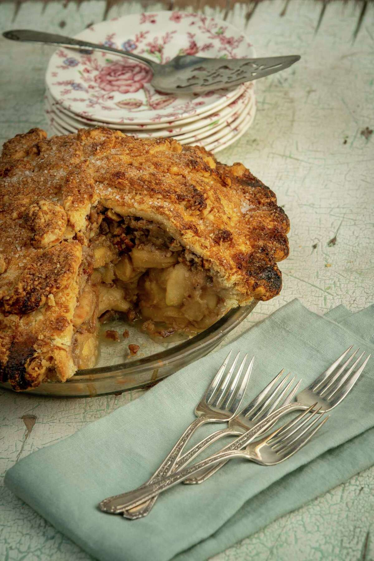 Maple Butter Apple Pie with Texas Pecan Praline by Jane Wild, executive chef The Dunlavy.