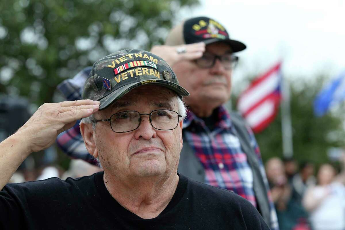 David V. Gonzales, 74, attends the Veterans Day ceremony at Fort Sam Houston National Cemetery on Monday to honor military veterans and families.