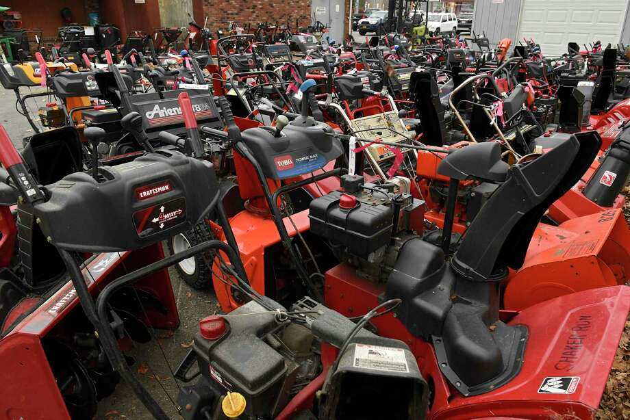 A sea of snowblowers that are in for repair or tune-up are seen in the rear of Robinson Ace Hardware store on Monday, Nov. 11, 2019 in Guilderland, N.Y. Some of the snowblowers were ready for pickup while others were waiting to be worked on. Snow is expected in the area tonight into tomorrow. (Lori Van Buren/Times Union) Photo: Lori Van Buren, Albany Times Union / 40048235A