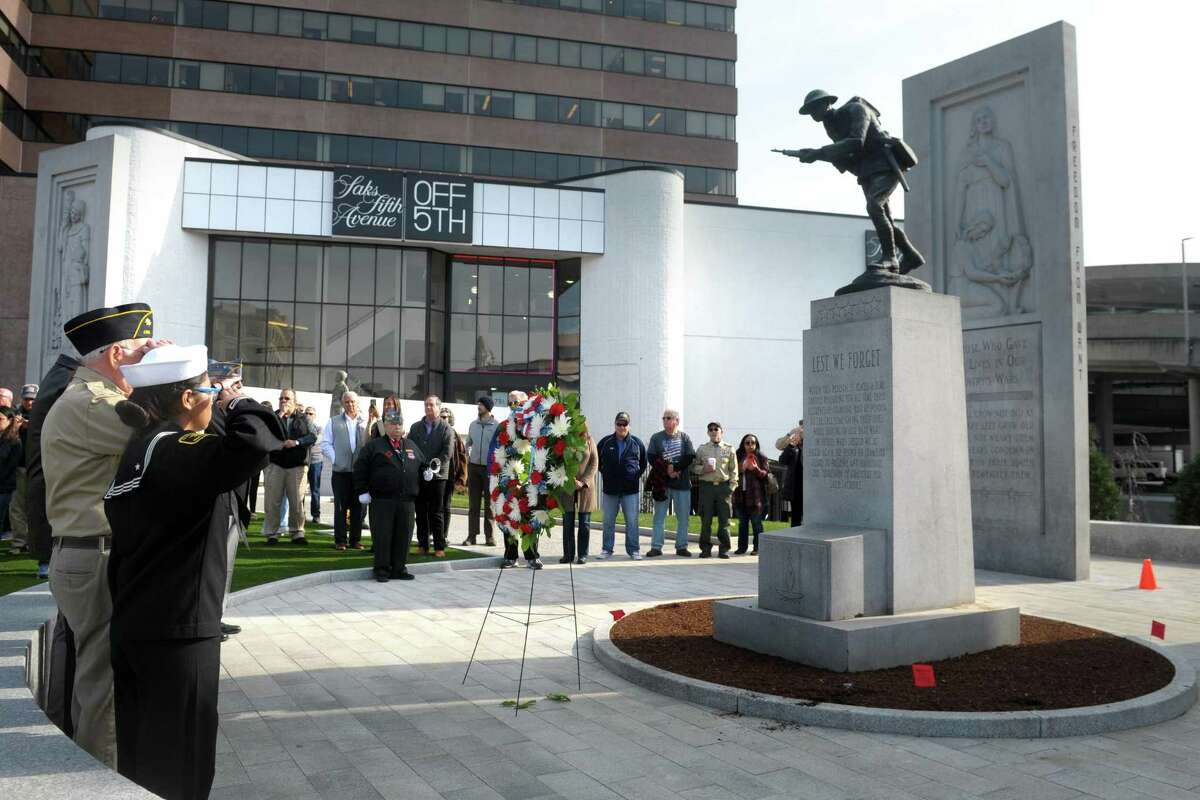 The rededication ceremony for Veterans Park in Stamford Monday.