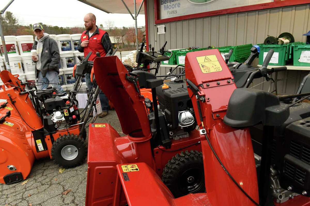 Gordon James of Gansevoort, left, looks at snowblowers with help from store manager Rob McDonnell at Robinson Ace Hardware store on Monday, Nov. 11, 2019 in Guilderland, N.Y. Snow is expected in the area tonight into tomorrow. (Lori Van Buren/Times Union)