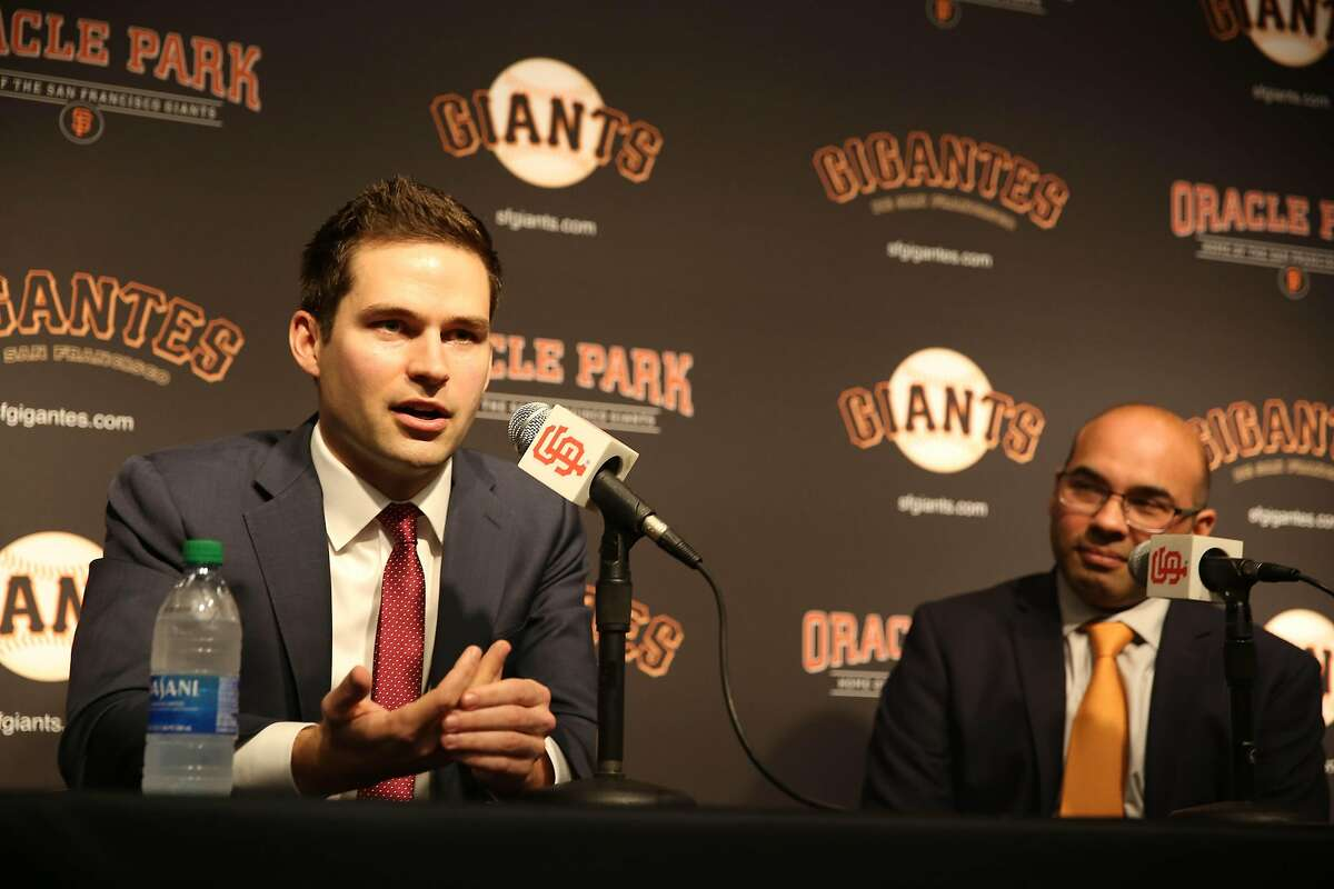 San Francisco Giants' new general manager Scott Harris (l to r) speaks during a news conference with president of baseball operations Farhan Zaidi in the Nick Peters Media Interview Room at Oracle Park on Monday, November 11, 2019 in San Francisco, Calif.