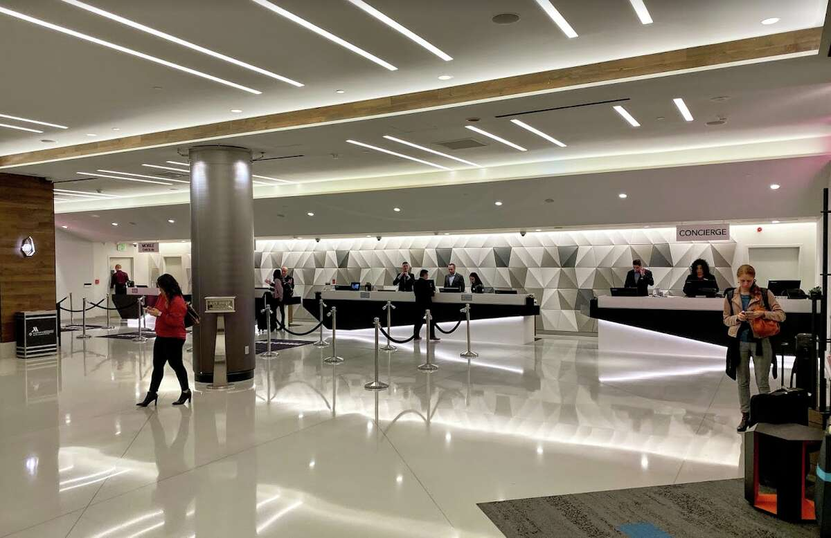 The renovated lobby at the San Francisco Marriott Marquis sports a sleek new look