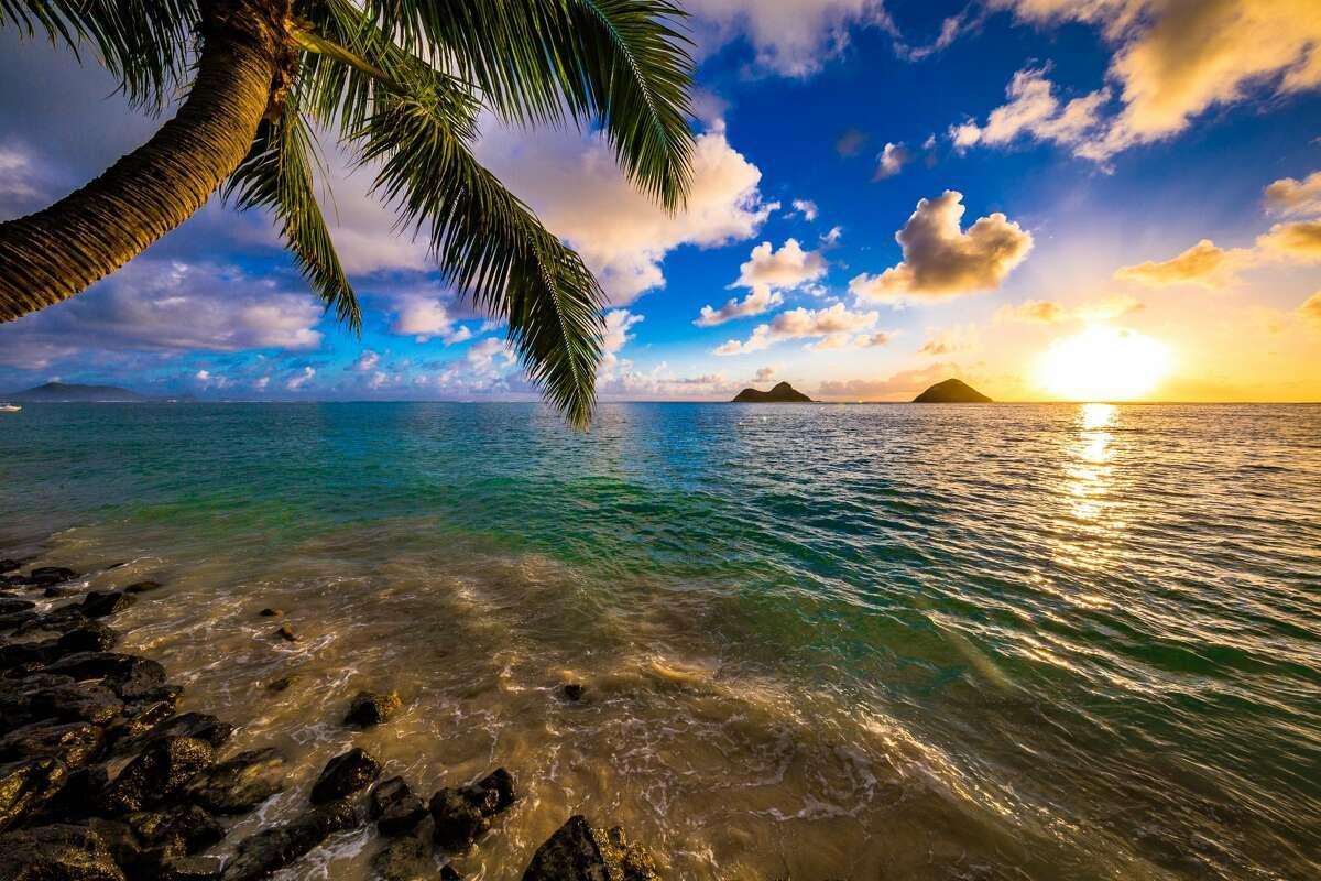 Sunrise at the world famous Lanikai Beach in Kailua, Hawaii. Interest in Kailua-Kona is up 63 percent in 2019.