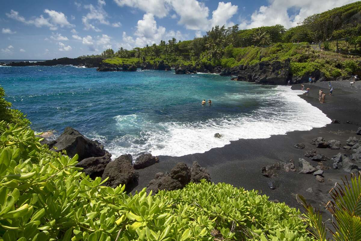 Black sand beach in Waianapanapa State Park, Maui, Hawaii. Hana is the top-trending Hawaiian destination from San Francisco, with interest up 88 percent year over year.