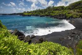 Black sand beach,Waianapanapa state park. Maui, Hawaii