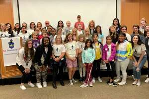 First Selectman Rudy Marconi, Roxbury First Selectwoman Barbara Henry and Ms President US 2018 Hersha Chauhan recently spoke to young girls about civic leadership.