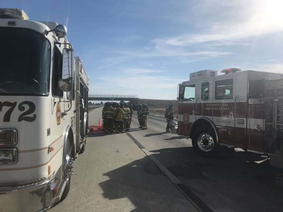 Cal Fire shared photos of the rollover crash on Highway 101 near San Martin. The agency said all southbound lanes were expected to remain closed into the evening hours. Photo: Cal Fire