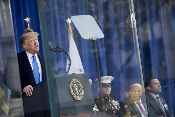 President Donald Trump speaks at a wreath laying ceremony at the New York City Veterans Day Parade at Madison Square Park, in Washington, Monday, Nov. 11, 2019. (AP Photo/Andrew Harnik)