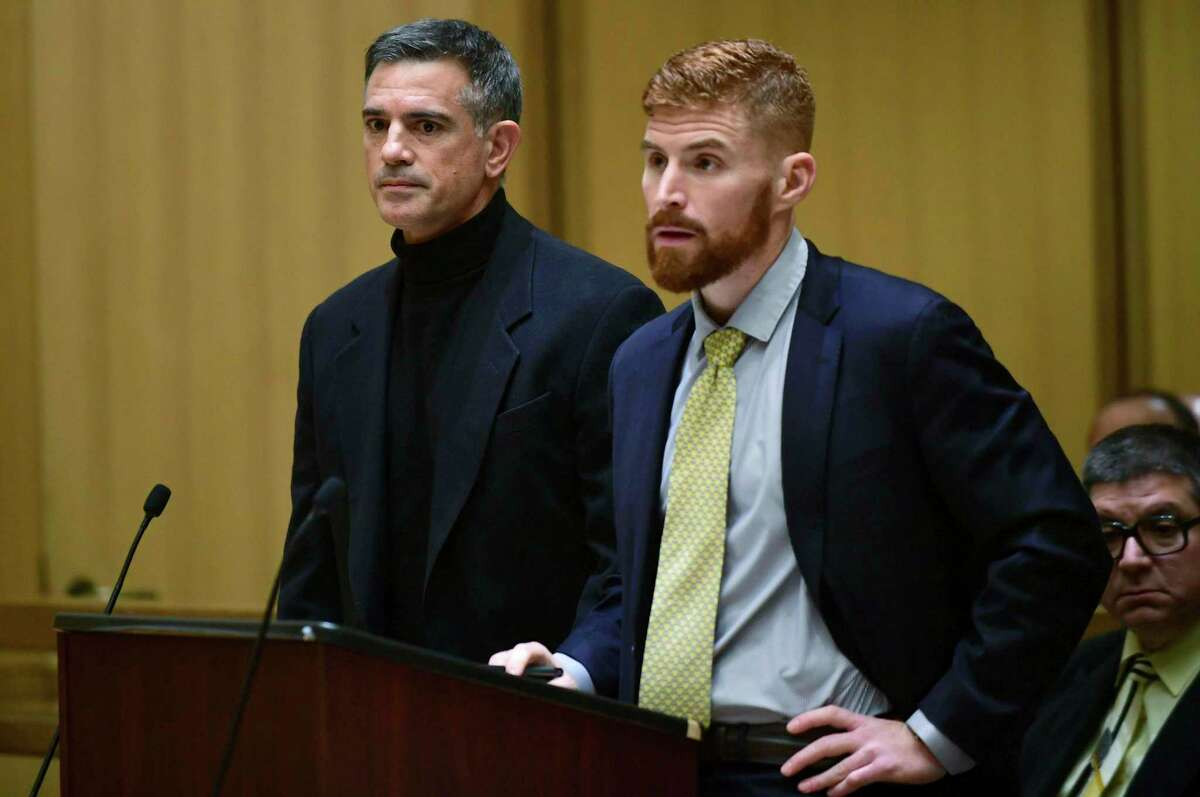 Fotis Dulos, left, charged with two counts of tampering with evidence and hindering prosecution in the disappearance of Jennifer Dulos, appears for a pre-trial hearing Wednesday, November 6, 2019, at the Stamford Superior Court in Stamford, Conn. (Erik Trautmann/Hearst Connecticut Media via AP, Pool)