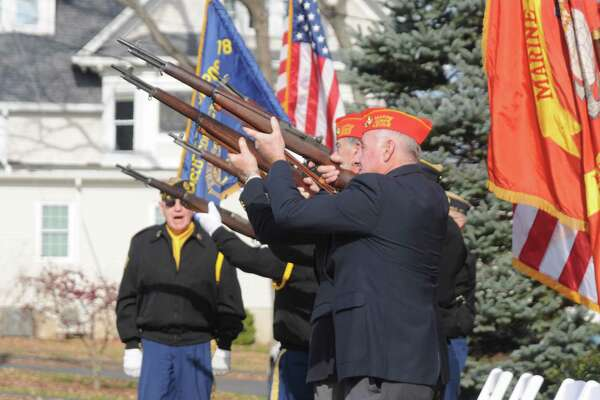 The American Legion honor guard fire a gun salute to veterans now gone.