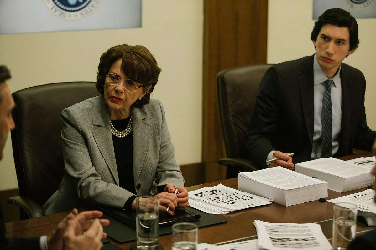 """Annette Bening as Sen. Dianne Feinstein and Adam Driver as Congressional staffer Daniel Jones in the new political drama """"The Report,"""" written and directed by Scott Z. Burns."""