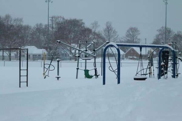 When the temperatures fall below 10 degrees school playgrounds take on the appearance of this one at Kennedy Elementary School. County school officials are reminding parents and guardians to dress their children appropriately for the weather conditions when sending them off to school. (Ken Grabowski/News Advocate)