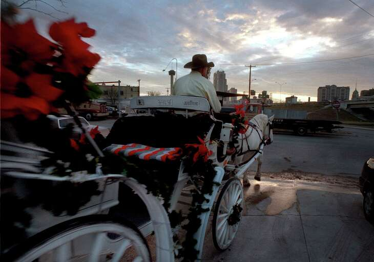 A Yellow Rose Carriage Co. driver takes his horse and carriage to the streets for another evening of rides around downtown San Antonio. The company is the subject of litigation.