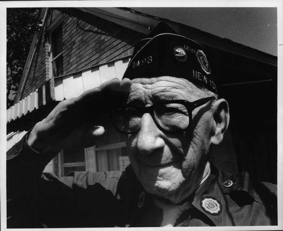 89-year-old World War I & II veteran James Kinisky, altamont Avenue, Voorheesville, New York. May 25, 1990 (Arnold LeFevre/Times Union Archive)