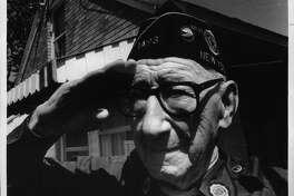 89-year-old World War I & II veteran James Kinisky, altamont Avenue, Voorheesville, New York. May 25, 1990 (Arnold LeFevre/Times Union Archive)