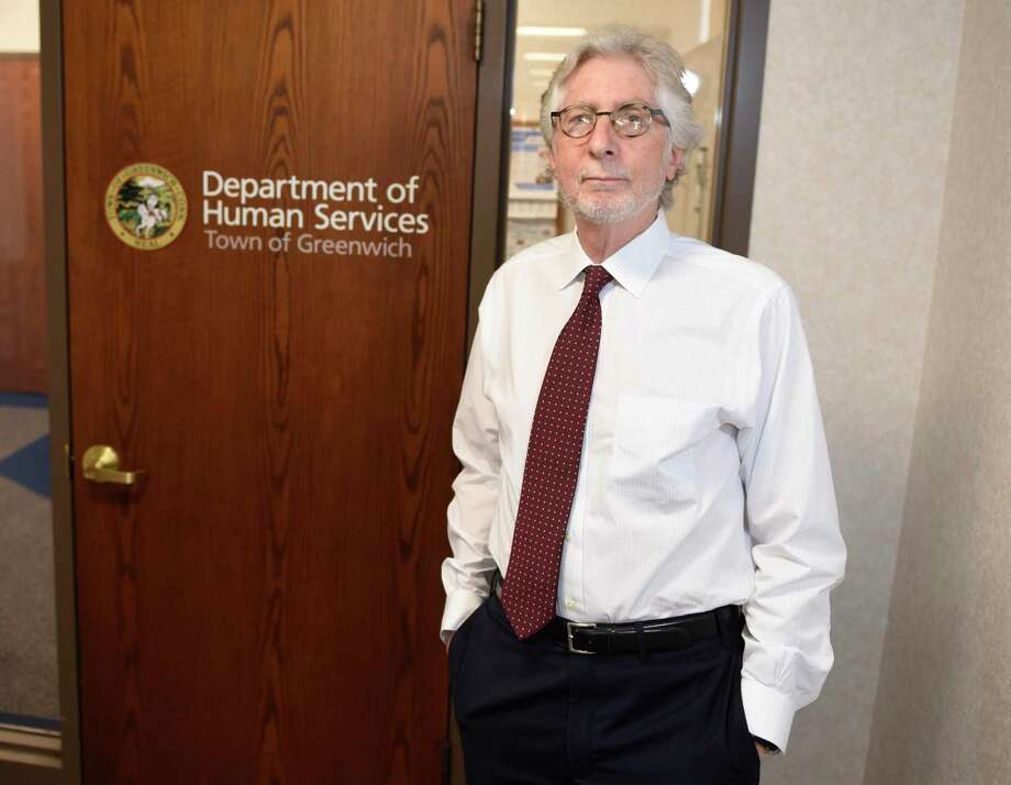 Greenwich Department of Human Services Director Alan Barry, Ph.D., poses in the department headquarters at Town Hall in Greenwich, Conn. Wednesday, Oct. 2, 2019. Photo: Tyler Sizemore / Hearst Connecticut Media / Greenwich Time
