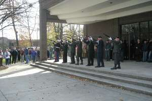 Torrington veteran groups, local first responders and local and state officials gather at the Coe Memorial Park Civic Center Monday to observe Veterans Day in 2018. Members of the City Council recently approved the establishment of an official Veterans Advisory Committee. The city has had a volunteer Veterans Service Office for many years.