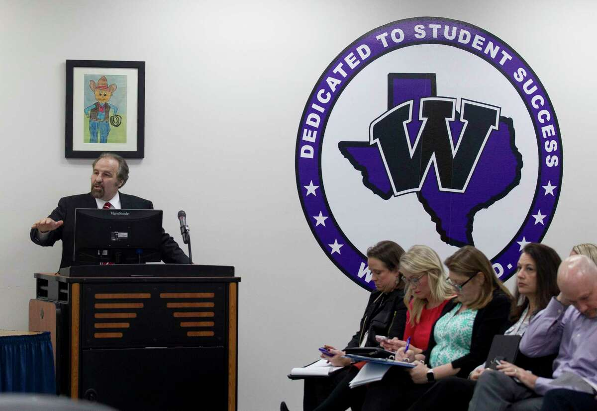 Conroe ISD Board Trustee Dale Inman speaks during the public comment portion of a Willis ISD school board meeting, Monday, Nov. 11, 2019, in Willis. Inman, and other members of the public shared their views after the district hosted a Houston-area drag queen for a make-up application lesson for cosmetology students in October. Inman initially spoke out against the district, and is claiming district officials are now retaliating against his wife, Kelley, who teaches in the district.
