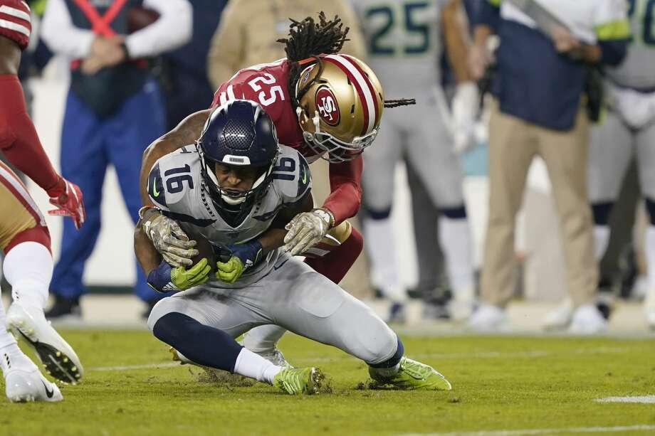 San Francisco 49ers cornerback Richard Sherman (25) tackles Seattle Seahawks wide receiver Tyler Lockett (16) during the first half of an NFL football game in Santa Clara, Calif., Monday, Nov. 11, 2019. (AP Photo/Tony Avelar) Photo: Tony Avelar/AP