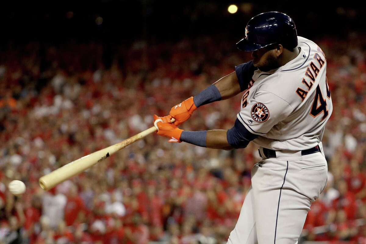 WASHINGTON, DC - OCTOBER 27: Yordan Alvarez #44 of the Houston Astros hits a single against the Washington Nationals during the fourth inning in Game Five of the 2019 World Series at Nationals Park on October 27, 2019 in Washington, DC. (Photo by Patrick Smith/Getty Images)