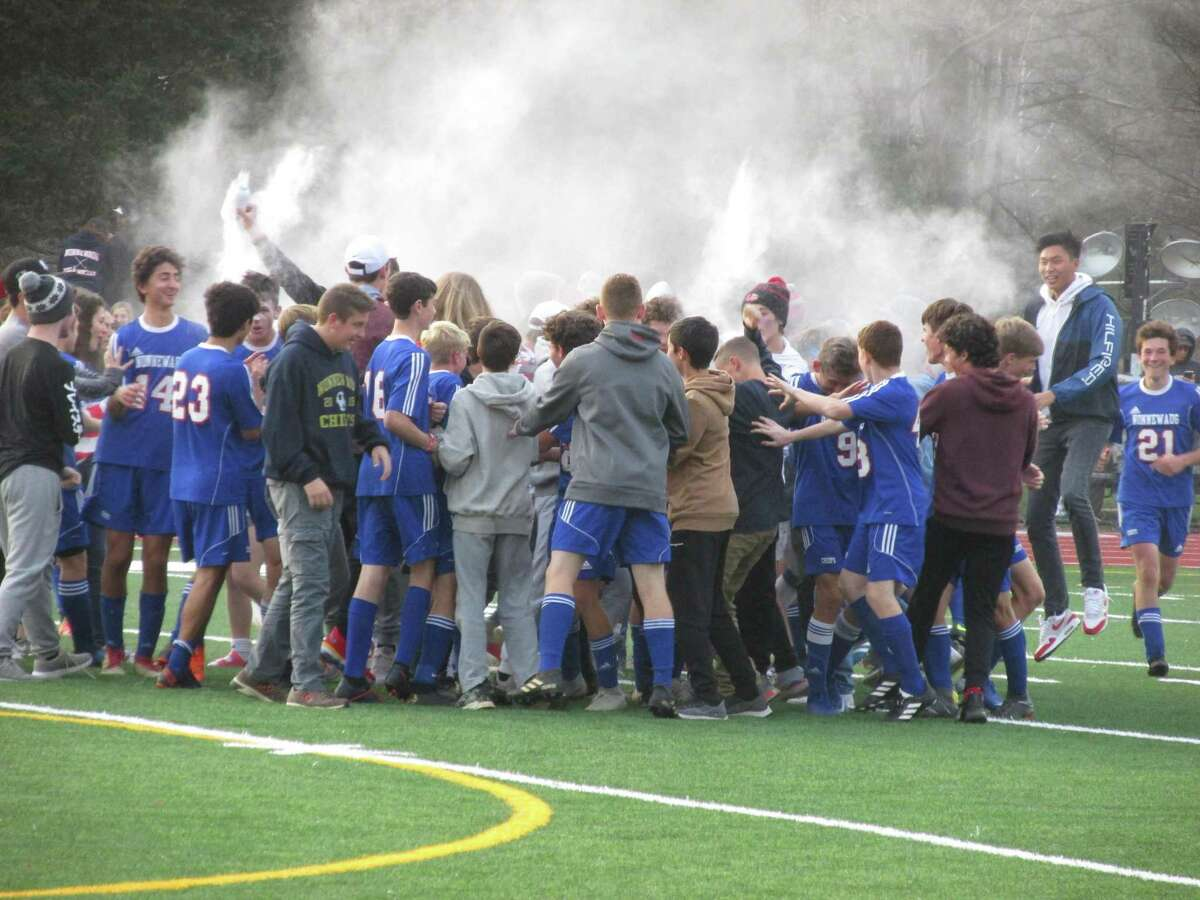 Berkshire League champion Nonnewaug celebrated a Class M boys soccer first-round win over former BL power Lewis Mills Monday afternoon.