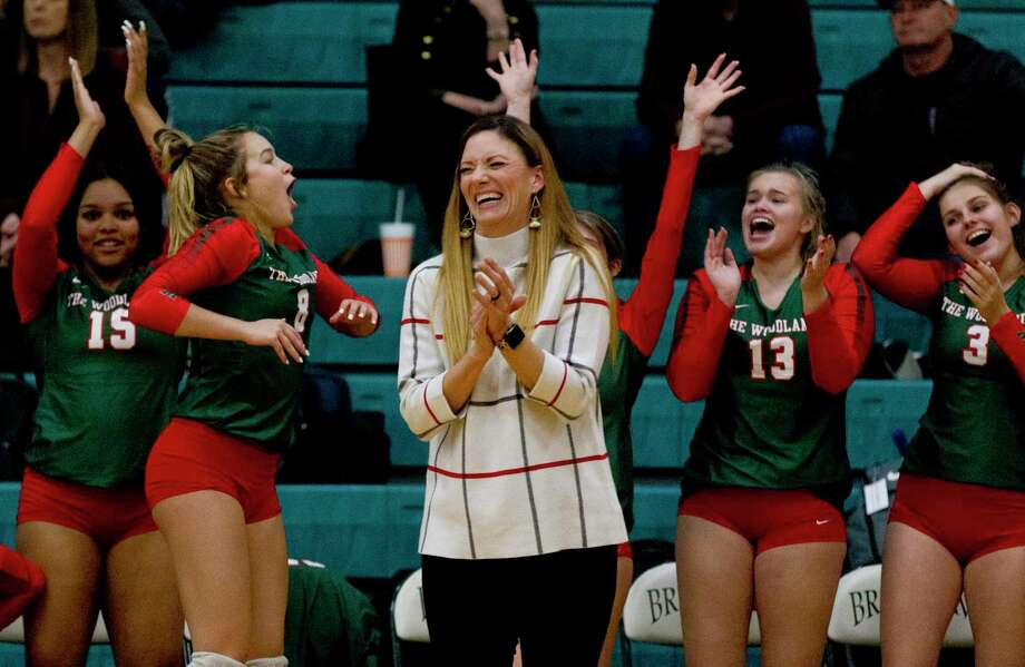The Woodlands head coach Terri Wade and the Lady Highlanders, shown here last week during a match with Vista Ridge, defeated Vandegrift in five sets Monday night in Bryan in the Region II-6A quarterfinals. Photo: Jason Fochtman, Houston Chronicle / Staff Photographer / Houston Chronicle
