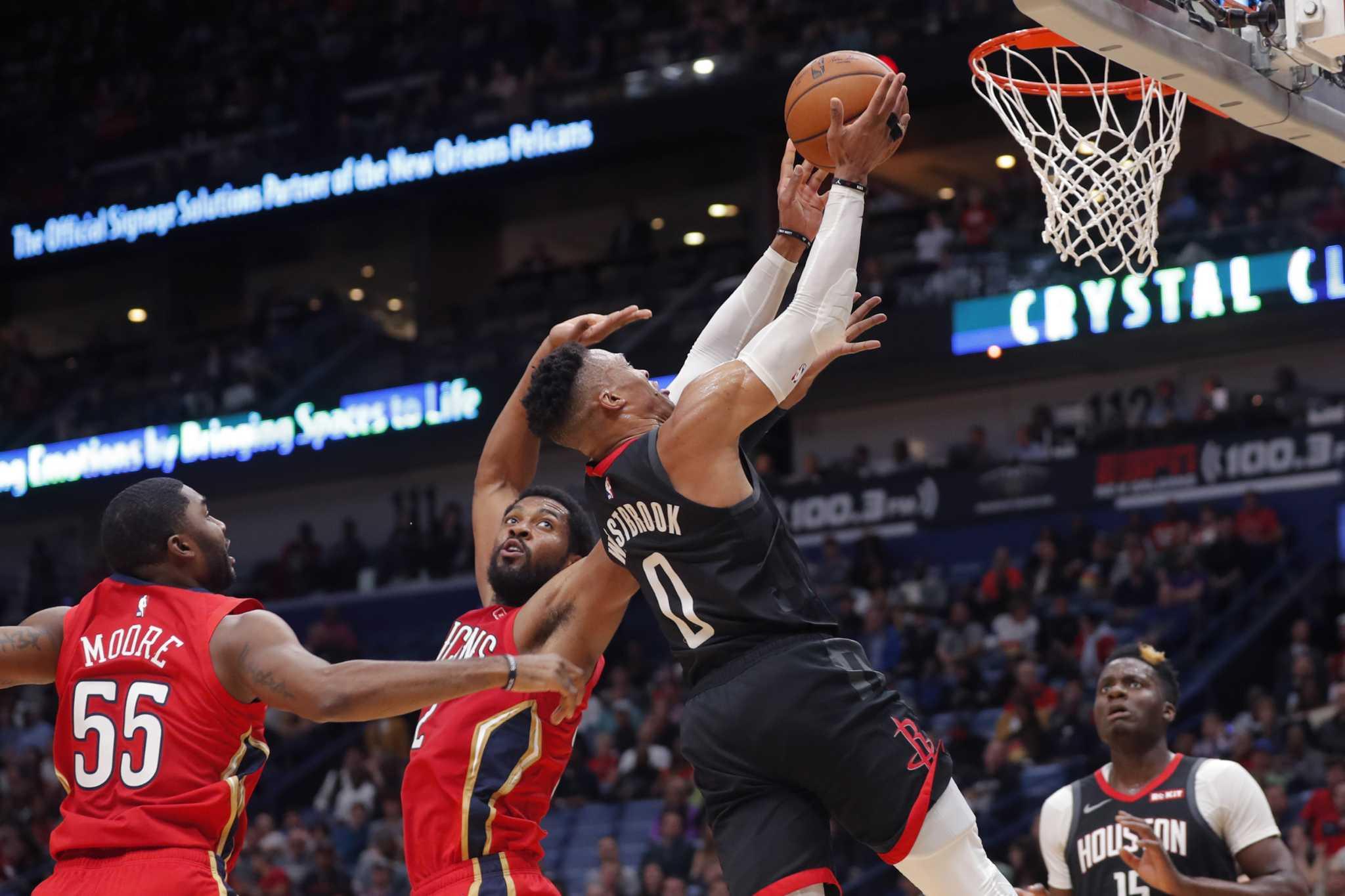 Rockets fend off short-handed Pelicans