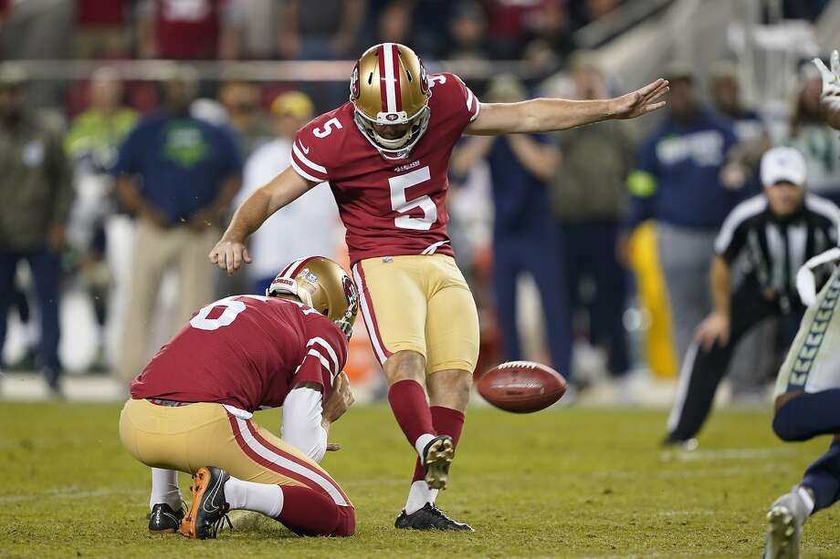 San Francisco 49ers kicker Chase McLaughlin (5) kicks a field goal from the hold of Mitch Wishnowsky during the second half of an NFL football game against the Seattle Seahawks in Santa Clara, Calif., Monday, Nov. 11, 2019. Photo: Tony Avelar / Associated Press
