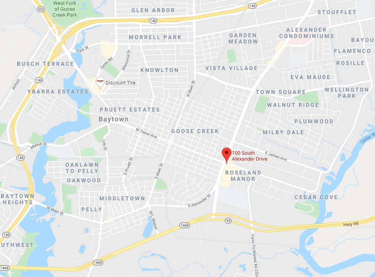 A Baytown police officer on Monday shot a man suspected in multiple hit-and-run crashes and a robbery in the 100 block of South Alexander.