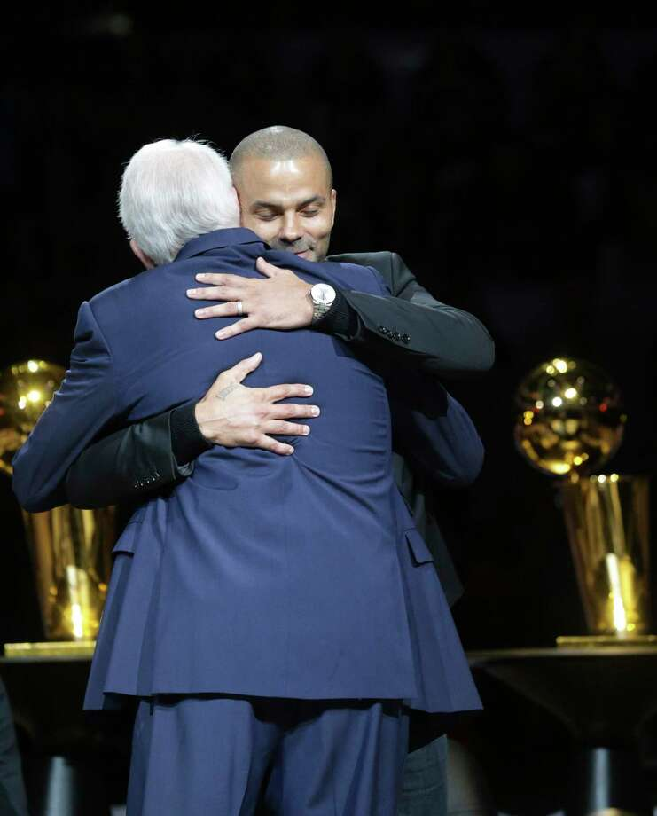 Merci, Tony! Spurs star Tony Parker gets a hug during his recent jersey retirement ceremony. A reader is proud of the Spurs — a team recognized around the world. Photo: Tom Reel /Staff Photographer / 2019 SAN ANTONIO EXPRESS-NEWS