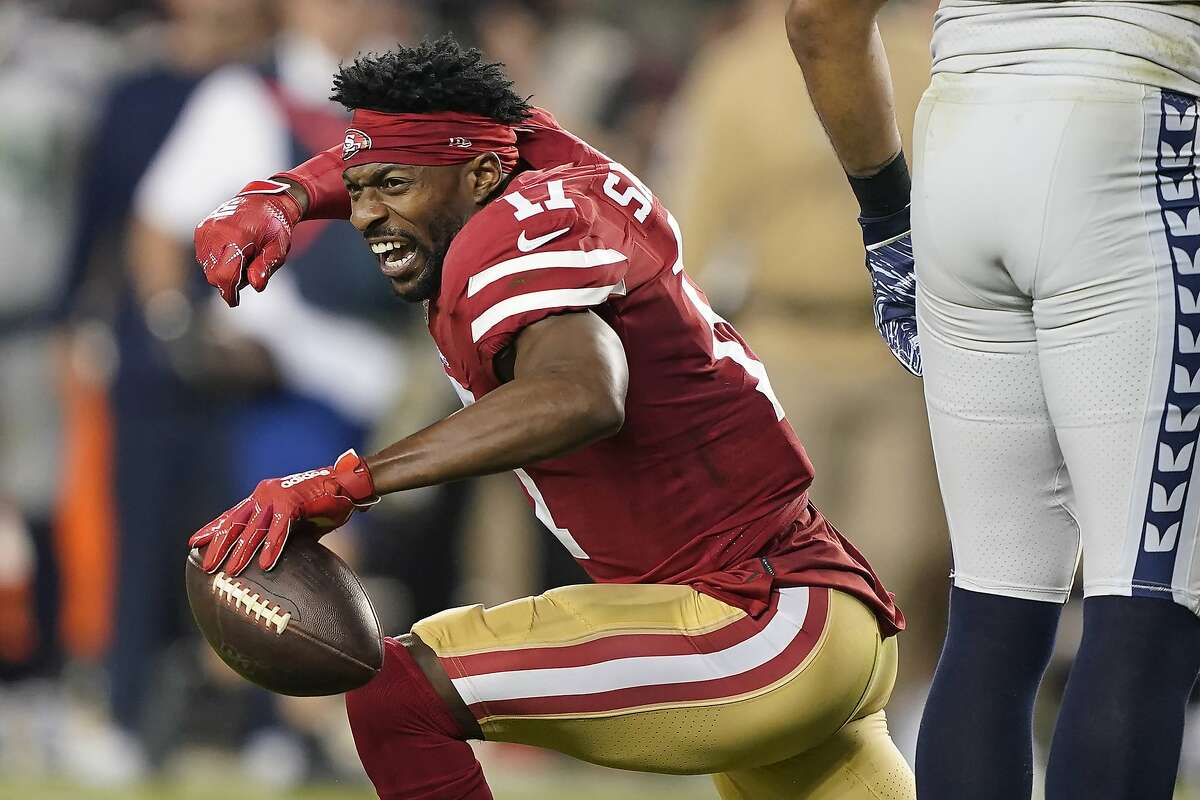 San Francisco 49ers wide receiver Emmanuel Sanders (17) reacts after catching a pass against the Seattle Seahawks during the first half of an NFL football game in Santa Clara, Calif., Monday, Nov. 11, 2019. (AP Photo/Tony Avelar)