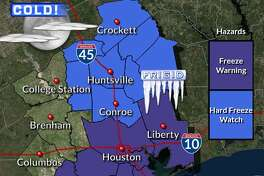 A freeze warning takes effect at 9 p.m., Tuesday, Nov. 12, 2019, as cold temperatures descend into Houston.