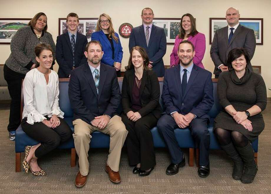 Pictured is the 2020 Gerstacker Fellowship class. Seated, from left: Molly Sholten, Jason Kowalski, Margaret Doan, Joe Amabile and Deedra Baker. Standing, from left: Tamara Johnson, Nathan Mausolf, Penny Miller-Nelson, Scott Miklovic, Laura Chang and Justin Shaner. (Photo provided/Tim Inman, SVSU)