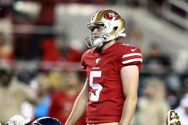 SANTA CLARA, CALIFORNIA - NOVEMBER 11: Kicker Chase McLaughlin #5 of the San Francisco 49ers reacts to a missed field goal in overtime against the Seattle Seahawks in the game at Levi's Stadium on November 11, 2019 in Santa Clara, California. (Photo by Ezra Shaw/Getty Images)