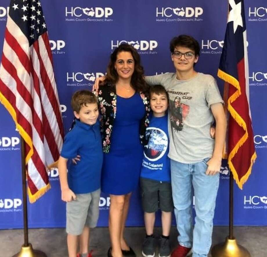 District 132 state Rep. Gina Calanni, D-Katy, filed for re-election on Sunday, Nov. 10, for another two-year. Accompanying the first-term representative to the Harris County Democratic Party headquarters were her three sons. Photo: Courtesy Gina Calanni