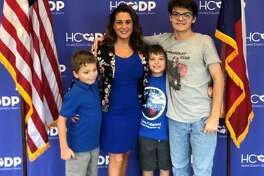 District 132 state Rep. Gina Calanni, D-Katy, filed for re-election on Sunday, Nov. 10, for another two-year. Accompanying the first-term representative to the Harris County Democratic Party headquarters were her three sons.